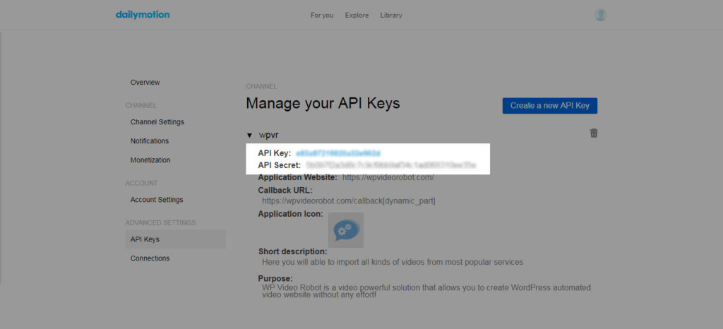 Where to find Dailymotion API Keys - WP Video Robot Support
